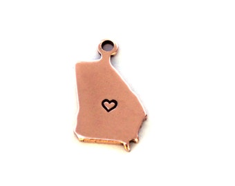 2x Antique Rose Gold Plated Georgia State Charms w/ Hearts - M132/H-GA