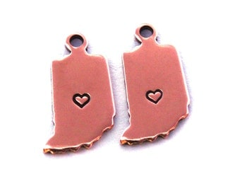 2x Rose Gold Plated Indiana State Charms w/ Hearts - M132/H-IN
