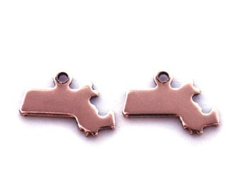 2x Rose Gold Plated Blank Massachusetts State Charms - M132-MA