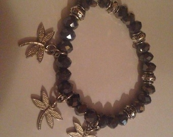 Dragonfly bracelet glass beads