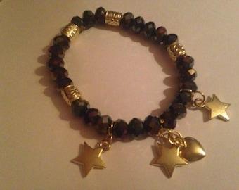 heart and star  bracelet glass beads
