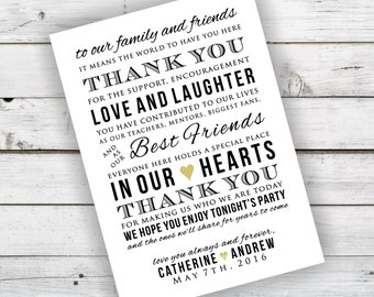 DIY Wedding Reception Thank You Card Printable - Currently Shown in Black and Champagne