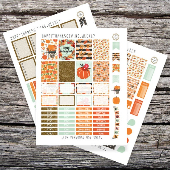 Happy Thanksgiving: Printable Planner Stickers for Erin Condren Vertical (PDF)