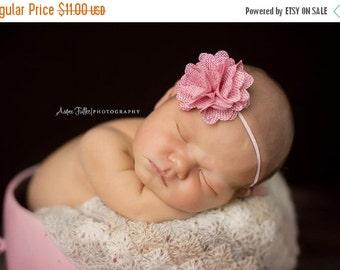ON SALE Emma, Burlap Flower, Pink Headband, Flower Headband, Newborn Headband, Newborn Photo Prop, Many Colors Available
