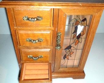 Vintage Oak Wood MUSICAL JEWELRY BOX Gold Silver Necklace Bracelet Display Box