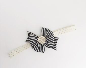 The Posh Society Stripe Bow Headband in Black and Ivory Stripe