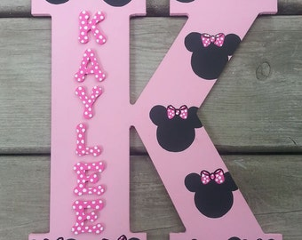 "Minnie Mouse Letters - 13"" Wood Letters - Hand Painted Letters - Name Letters - Painted Letters - Wood Letters - Minnie Mouse Bedroom"