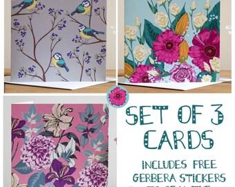 Set Of 3 Blank Greeting Cards Floral Birds Kayleigh Jayne Design