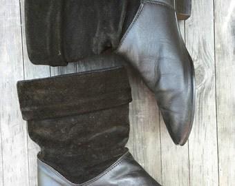 1980's Black Boots/ 1980s Black Leather Boots/ Black Vintage Suede Boots/ Slouchy Boots/ Black Leather Boots/ Size 7 1/2