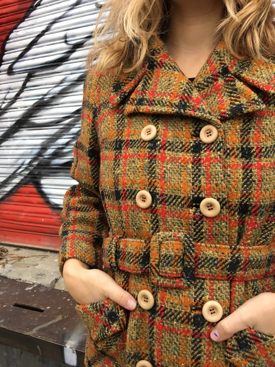 Vintage Women's Wool Plaid Coat
