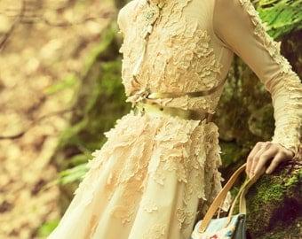 Beige tulle petals dress