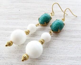 Scarab earrings, green faux jade earrings, white agate earrings, dangle earrings, gemstone jewelry, uk vintage jewelry, italian jewelry