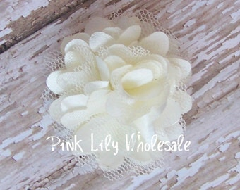 TWO Mini Satin Mesh Flowers - TWO Ivory - Small Flower - Craft Flower - Wholesale Flower - Craft Supplies -DIY