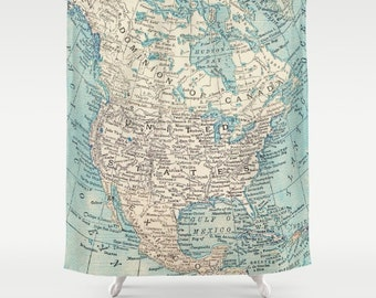Map Shower Curtain - North America bold- Home Decor - Bathroom - learning and  travel, wanderlust , places, United States, Canada maps