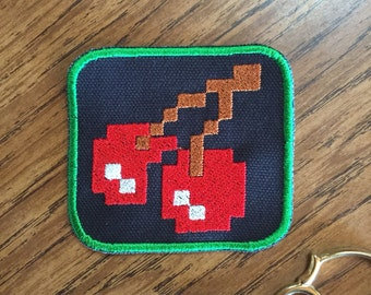 Pac Man cherries 2.5x2.5in. Sew-on patch