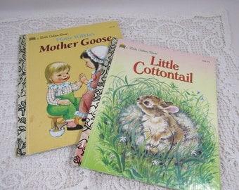 Vintage Little Golden Book Children's Collectible Books Mother Goose Little Cottontail Vintage Children Art Upcycle Eloise Wilkin