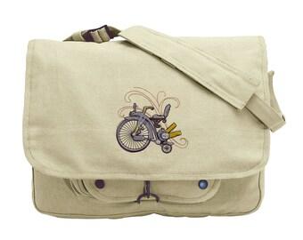Steam Motifs - Pennyfarthing Steampunk Bicycle Embroidered Canvas Messenger Bag