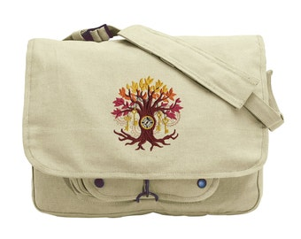 Time Tree Embroidered Canvas Messenger Bag