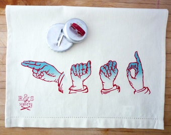 Hand Art Towel, ASL Gift, Sign Language, Illustration,  Deaf Culture, Hostess Gift, Ready to Ship, Gifts under 20, Win The Gift Exchange
