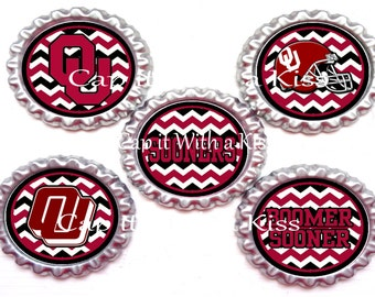 Set of Five Finished and Sealed Oklahoma Sooners Inspired Bottle Caps