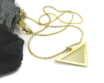 Unique Pendant Necklace, Geometric Necklace, Bohemian Jewelry, Gold Plated Necklace, Triangle Pendant Necklace, Gold Statement Necklace
