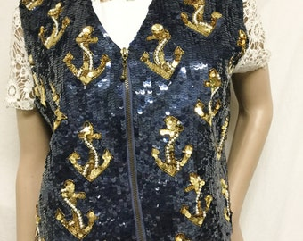Large Sequin vest,blue,Gold ,Sequins, Vest, Beaded Vest ,Anchors, L