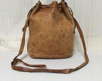 Free ship Italy brown leaher cinch top bucket bag shoulder bag purse Ann Taylor