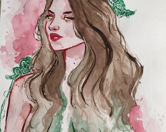 Wood Sprite | watercolour bust