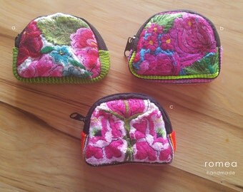 Mexican Coin Purse / Floral Embroidery / Romea Accessories / Flowers / Colors
