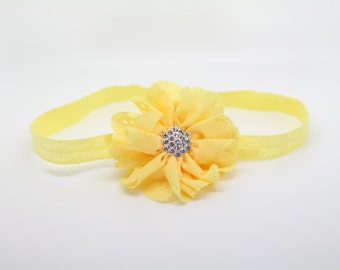 Yellow Headband, Yellow Flower Headband, Yellow Flower Girl Headband, yellow baby headband, Yellow birthday headband, yellow Clip