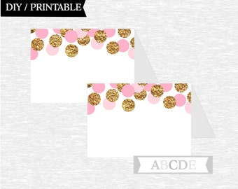 Instant Download Pink Glitter Gold Tented Food Labels Birthday party Baby shower DIY Printable (CON201)