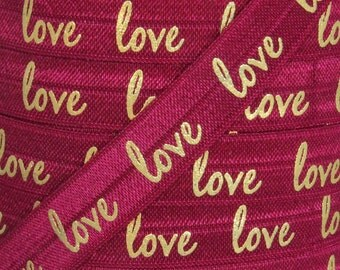 "Wine and Gold Metallic ""love"" Print Fold Over Elastic - Elastic for Headbands and Hair Ties - 5 Yards 5/8 inch Printed FOE"
