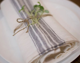 Napkin Stoanwashed White With Charcoal Stripes