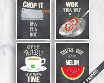 Chop it, Wok, Sip Time, Melon (Funny Kitchen Song Series) Set of 4 Art Prints (Featured in Vintage Chalkboard) Kitchen Art