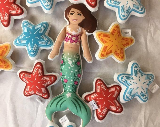 Mermaid doll- Brown eyes Brown hair Green Tail