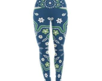 "Yoga Leggings - Yellow White Abstract Cristina Bianco ""Blue & Green Mandala"" CB2026A Great Gift Idea!"