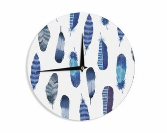 "Wall Clock - Blue Gray Graphic Strawberringo ""Feathers Blue"" TT1026A Great Gift Idea!"