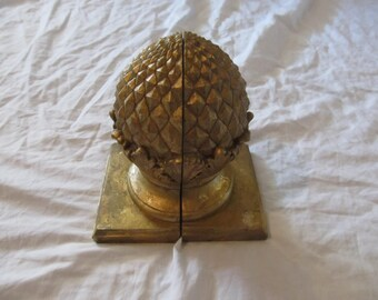 Antique Gold Painted Heavy Pineapple Bookends