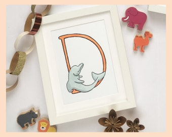 """D is for Dolphin. New baby, naming gift: 8""""x10"""" mounted print"""