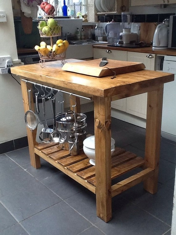 handmade rustic kitchen island butchers block delivery charge