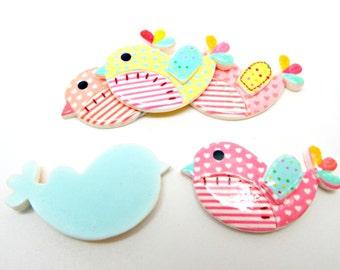 5 Bird Cabochons, 42mm Pastel Birds, Mixed Colors, Flatback Cabochon, 5 Colors, Kawaii Cabochons, Baby Decoration, Resin Cabochon, UK Seller