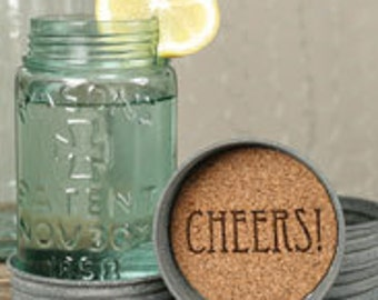 Mason Jar Lid Coaster - Cheers Set of 4