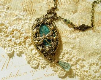 Dragonfly's Flight~ Glow in the Dark locket aged brass finish  Romantic, Spiritual, Steam Punk, Gothic, Woodland