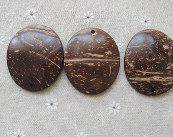 8Pcs 55x66mm oval Coconut pendant (NW123)