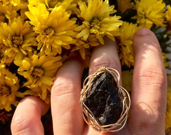 Healing Raw Black Tourmaline Ring: 14k Gold Filled & Sterling Silver Available