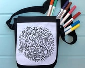 Music Colour In Bag For iPad across the body strap Colouring in Adult Activity Girls Colour In Handbag Hours Of Fun Colouring In