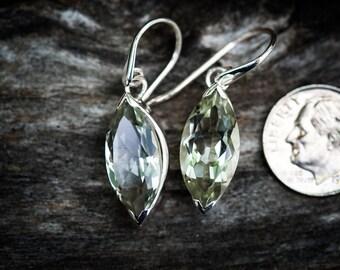Prasiolite Dangle Earrings, Green Amethyst, Green Quartz stunning Prasiolite earrings - Green Quartz - Green Amethyst Dangles