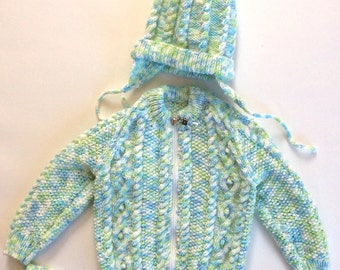 """Hand Knitted Baby Sweater with Hat and Mitts - 18"""" Chest Size, Aran Knit, Cable Knit, Toddler clothes, baby knitwear, kids sweaters"""