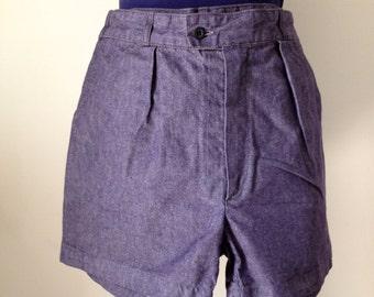 Shorts vintage 80s style 50, jean, blue canvas, size 40/m