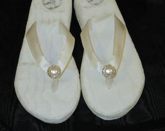 Size 9 to 9 1/2-Ivory Moire Taffeta Wedding Wedges